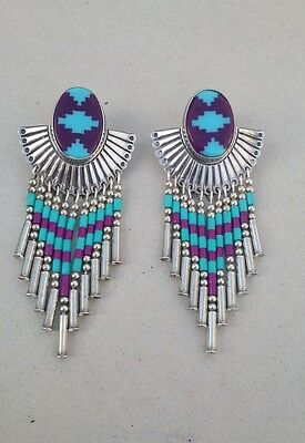 Vintage zuni navajo turquoise sugilite sterling inlay silver 925 bead earrings