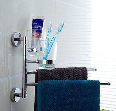 Chrome Bathroom Accessory Set Toothbrush Holder Cup Dual Towel Bar Assembly