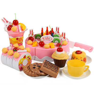 75Pcs Kitchen Cutting ToyS Birthday Cake Pretend Play Food Toy Set for Kids Girl