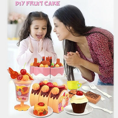 75PCS Pretend Play Kitchen Birthday Cake Pretend Play Food Toy Cutting Set Kids