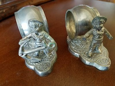 Sailor Boy with Anchor silverplate figural napkin rings (2)