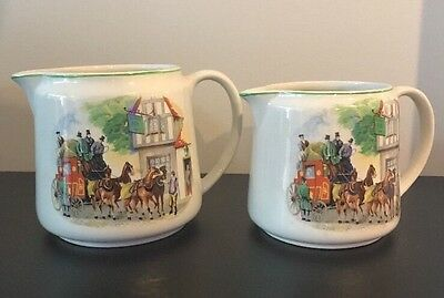 Vintage BCM Nelson Ware Set Of 2 Matching Jugs Made In England Ye Olde Fox Inn