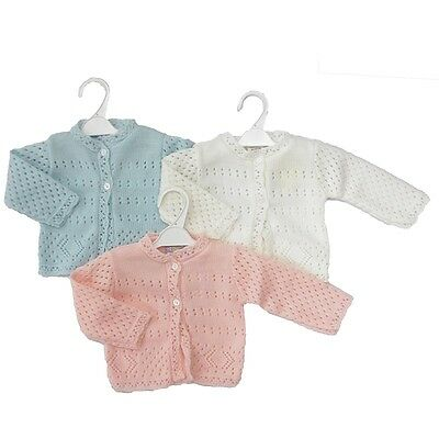 KNITTED BABY PREMIE CARDIGANS WHITE/PINK Premature Early Baby from 3-5lbs