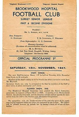 Brookwood Hospital v Crystal Palace A XI  Friendly Programme 15.11.1947