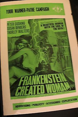 Hammer Films - Frankenstein Created Woman - Original Uk Pressbook