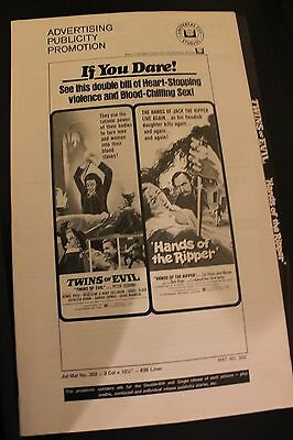 Hammer Films - Twins Of Evil/hands Of The Ripper - Original Us  Pressbook