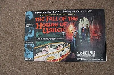 The Fall Of The House Of Usher - Vincent Price - Original Uk Pressbook