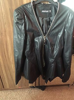 Womens synthetic leather jacket Size 10 Black  New Without Tags