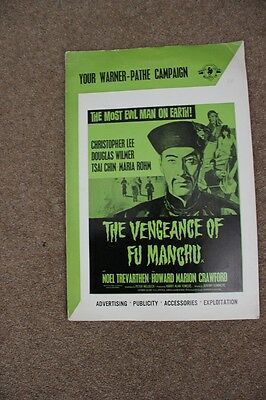 The Vengeance Of Fu Manchu - Christopher Lee - Original Uk Pressbook
