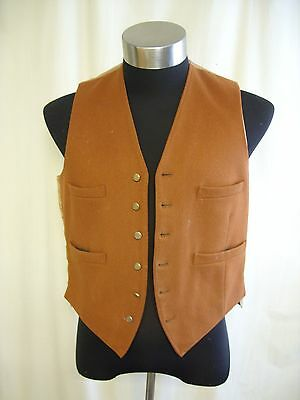 "Mens Waistcoat custom made, brown wool, chest 40"", length 22"", not perfect 0967"