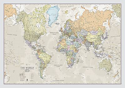 World Map Classic - Front Sheet Lamination - A1 84.1 (w) x 59.4 (h) cm