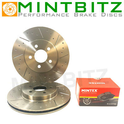 Mitsubishi L200 2.5 DiD 06-16 Front Dimpled & Grooved Brake Discs Mintex Pads