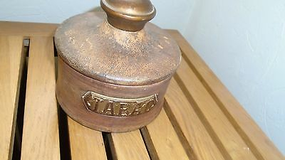 Vintage Leather Covered Tabacco Jar - Tabac