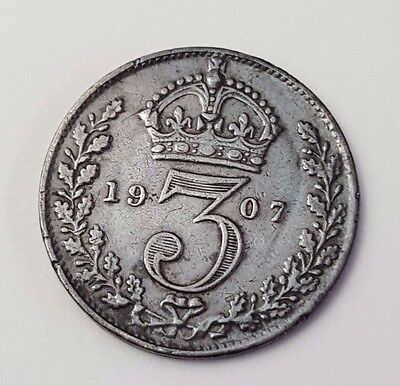 Dated : 1907 - Silver Coin - Threepence / 3d - King Edward VII - Great Britain