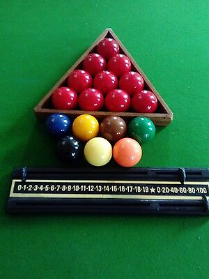 Set of Small Snooker Balls, Triangle and Scorer.
