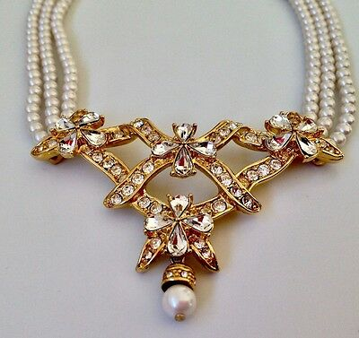 Exquisite Vintage Three-strand Freshwater Pearl and Crystal Necklace. Bridal ?