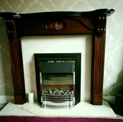 Wooden Fireplace Surround with marble back and hearth