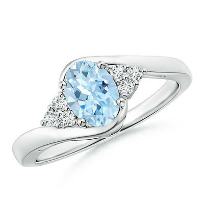Natural Oval Aquamarine Engagement Ring with Diamond 14K White Gold Size 3-13