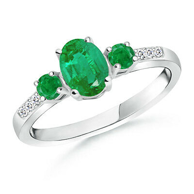 Natural Oval Emerald Three Stone Engagement Ring with Diamond 14k White Gold