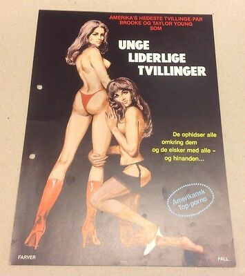 """""""Teenage Twins"""" Adult Brooke Taylor Young 1976 Danish Movie Press Release Kit"""