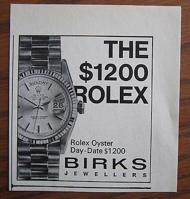 1967 Canadian Ad Birks Rolex Watch Ad Oyster Day Date Men's Canada