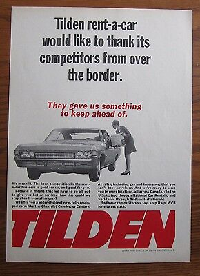 1968 Canadian Car Ad Chevrolet Caprice Tilden Rent A Car Ad