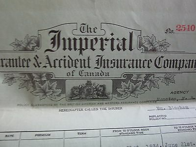1934 Imperial Insurance Company Policy Summer Cottage Landry's Beach Nb