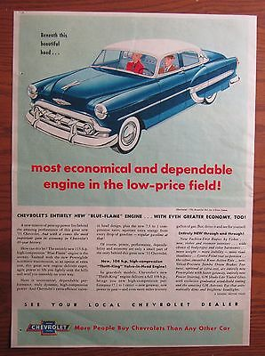1953 Canadian Chevrolet Belair Bel Air Car Ad Thrift King Engine Canada