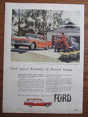 1957 Canadian Car Ad Ford Mercury Fairlane 500 Del Rio Ranch Wagon Canada