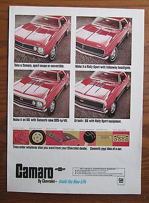 1967 Canadian Car Ad Chevrolet Camaro Ss 325 Hp Engine Candy Apple Red