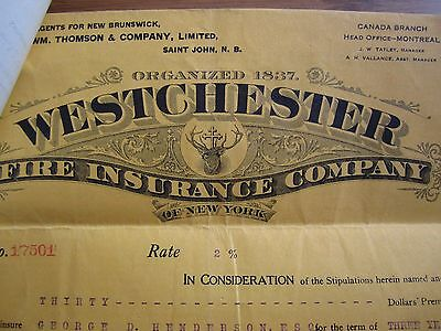 1922 Westchester Fire Insurance Company Policy New Brunswick Canada House