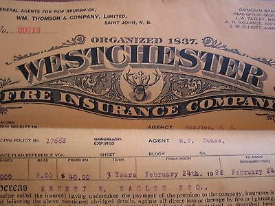 1930 Westchester Fire Insurance Company Policy Montreal Quebec Canada