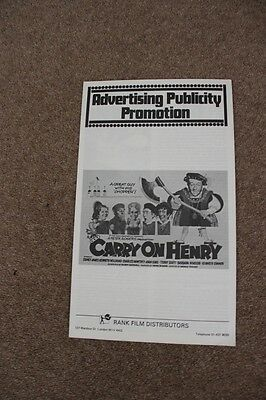 Carry On Henry - Sid James - Original Uk Pressbook