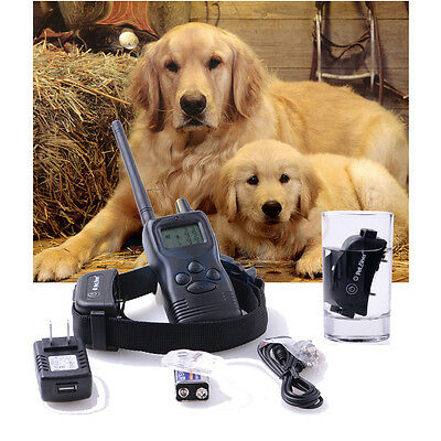 NEU Rechargeable 100% Waterproof 1000 M Remote Pet Dog Training Bark Stop Collar
