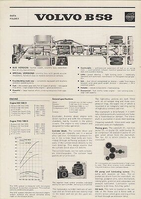 Volvo B58 Bus Chassis Specification 1974 UK Market Foldout Brochure