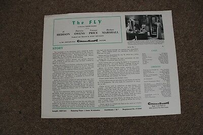 The Fly - Vincent Price - Original Uk 4 Page Synopsis