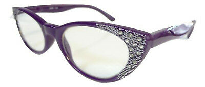 New Purple Womens Vintage Cat Eye Diamante Reading Glasses +1.50 +1.75 S140