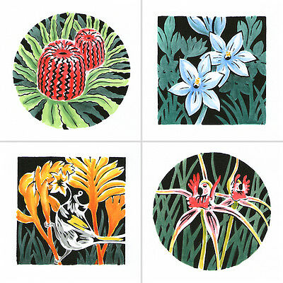 Hand Coloured Stencil Prints - Australian Native Wild Flowers. SET OF 4.