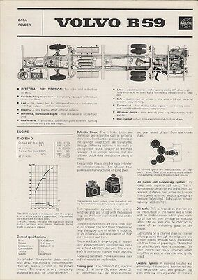 Volvo B59 City Bus Chassis Specification 1973 UK Market Foldout Brochure