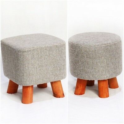 Modern Deluxe Grey Linen Footstool Pouffe Seat Wooden Legs Removable Cover