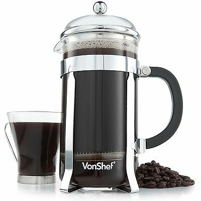 VonShef 12 Cup/1.5 Litre French Press Glass Cafetiere Coffee Maker
