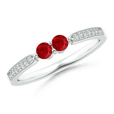 Vintage-Style 2-Stone Round Natural Ruby Ring with Diamond 14k White Gold