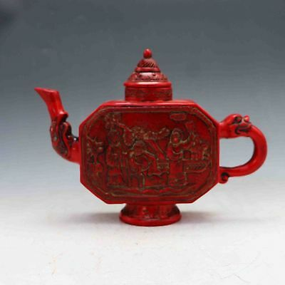 Chinese Collectable Red Coral Hand Carved Figure painting Teapot&Lid