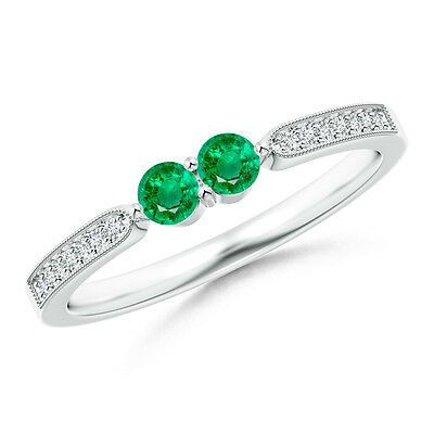 Vintage-Style Natural Round Emerald Ring with Diamond 14k White Gold Platinum