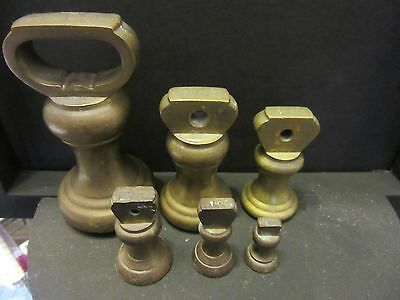 Set Of 6 Vintage Imperial Brass Bell Weights 1lb-1/2oz Balance Kitchen Scales Ho
