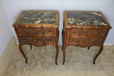 Gorgeous Pair Of 1930 French Louis XV Carving Solid Walnut Nightstands