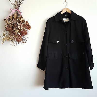Vintage Four Seasons of London John Lewis Black Fitted Trench Coat Size XS 6 8