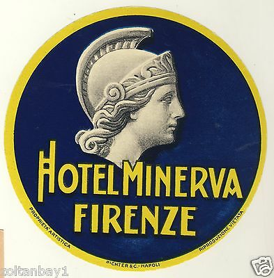 Vintage Hotel luggage label - Hotel Minerva Firenze - Italy