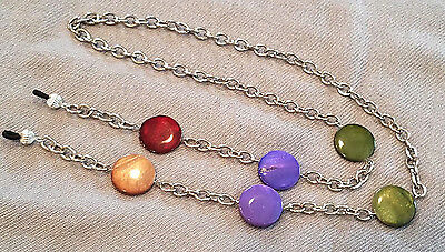 Dyed Mother of Pearl Silver Plate Chain Eyeglass Holder Necklace Lanyard OOAK