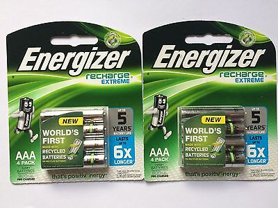 8 Energizer Recharge Extreme AAA Batteries (2x4 Pack) FREE POSTAGE